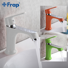 FRAP Basin Faucets white orange green basin faucet bathroom mixer taps saving water brass sink cold and hot