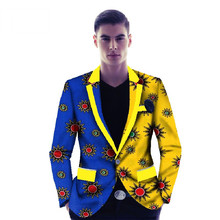 Fashion Causal Print Men Suit Jacket Coat Blazers Slim Fit Elegant Plus Size 6XL African Clothing Dashiki Bazin WYN128