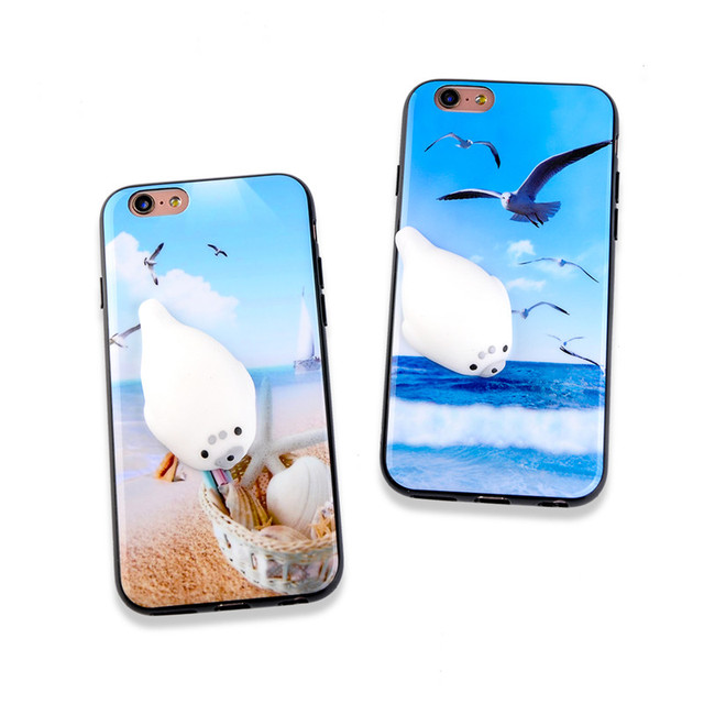 size 40 6ab4c 1c0df US $3.23 |TIKITAKA Pop Squishy Seal Phone Case For iPhone 6S 6 Plus 7Plus  Toys Clownish 3D Stress Relief Back Cover Carcasas For iPhone7-in Fitted ...