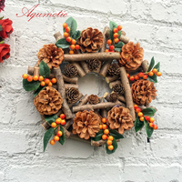 Aqumotic Nightmare Before Christmas Wreath Hanger Natural Dried Branches Pine Nuts Material Manual Outdoor Door Decor