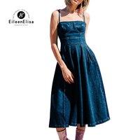 Для женщин Джинсовое платье 2018 платье комбинация Сексуальная голубой с открытыми плечами платье Повседневное женщина Джинсовое платье