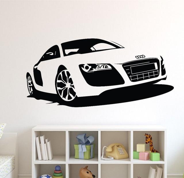 Large Car Audi Sports Car Wall Art Decal Home Decor Racing Car Wall Paper  Vinyl Mural