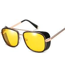 8f44c87b2fc60 Cubojue Homem De Ferro Óculos De Sol Do Punk Mulheres Homens Steampunk Do Vintage  Óculos De Sol Espelhado Quadrado Amarelo Verme.