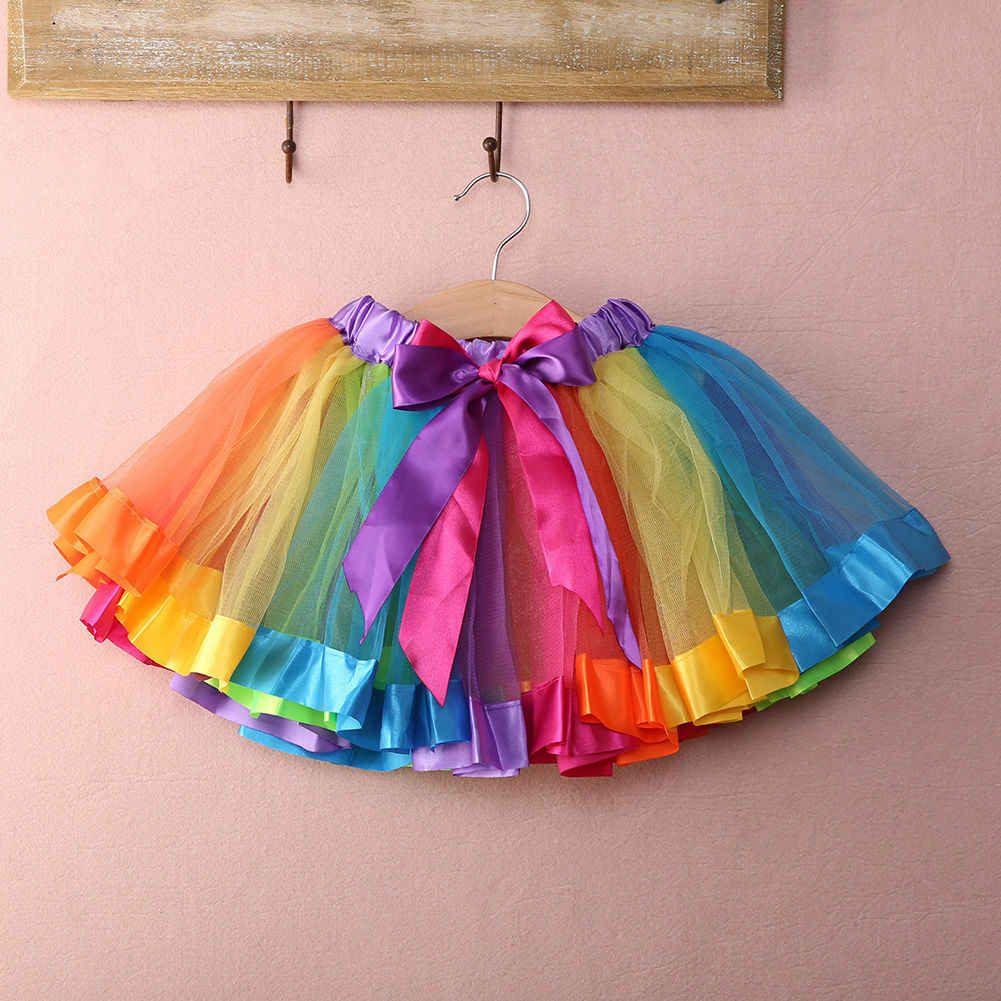 Mini falda de tutú arcoíris para fiesta tutú elegante