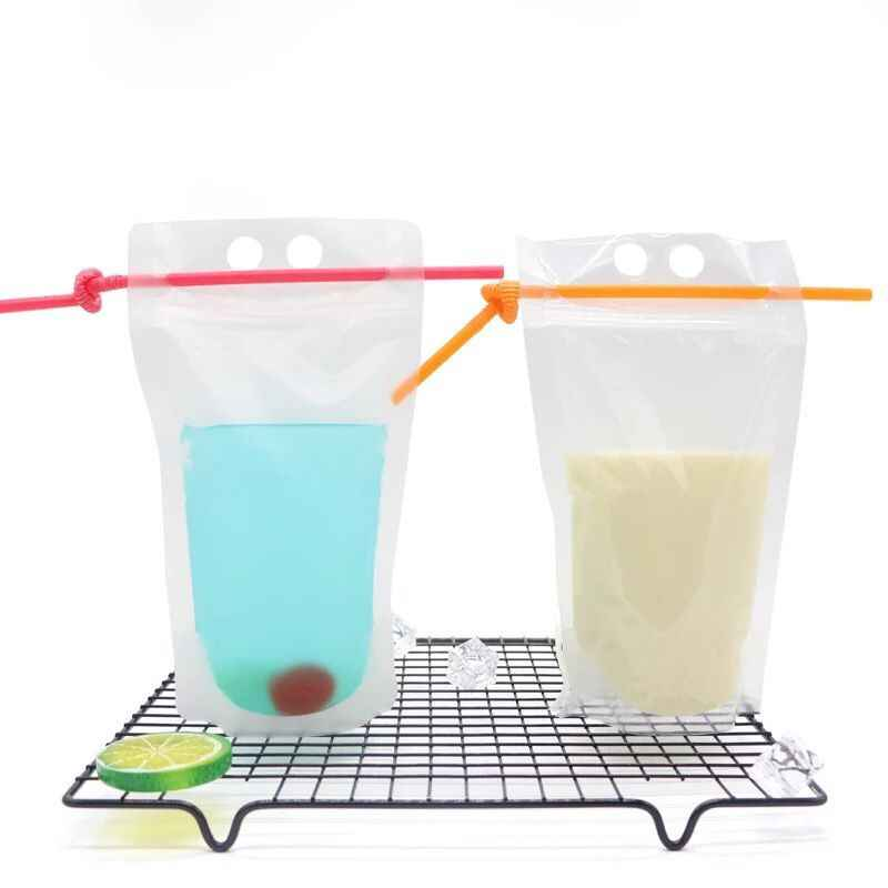 100 Pack, 450ml New Design Plastic Drink Packaging Bag Pouch for Beverage Juice Milk Coffee, with Handle and Holes for Straw