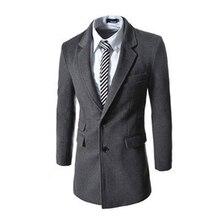 Новое прибытие высокого качества мужские осень зима средний и длинный участок однобортный шерстяное пальто траншеи пальто мужчины пальто для мужчин