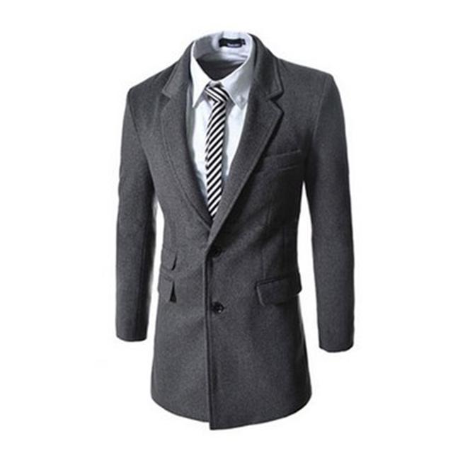 Nueva llegada de la alta calidad para hombre otoño invierno medio y larga sección de un solo pecho abrigo de lana trench coat hombres abrigos para los hombres