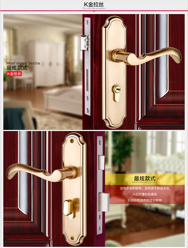 K gold color solid T handle lock indoor mute bearing strong wooden door gate versatile lock copper core & key crystal white color solid t handle lock indoor mute bearing strong wooden door gate versatile lock copper core