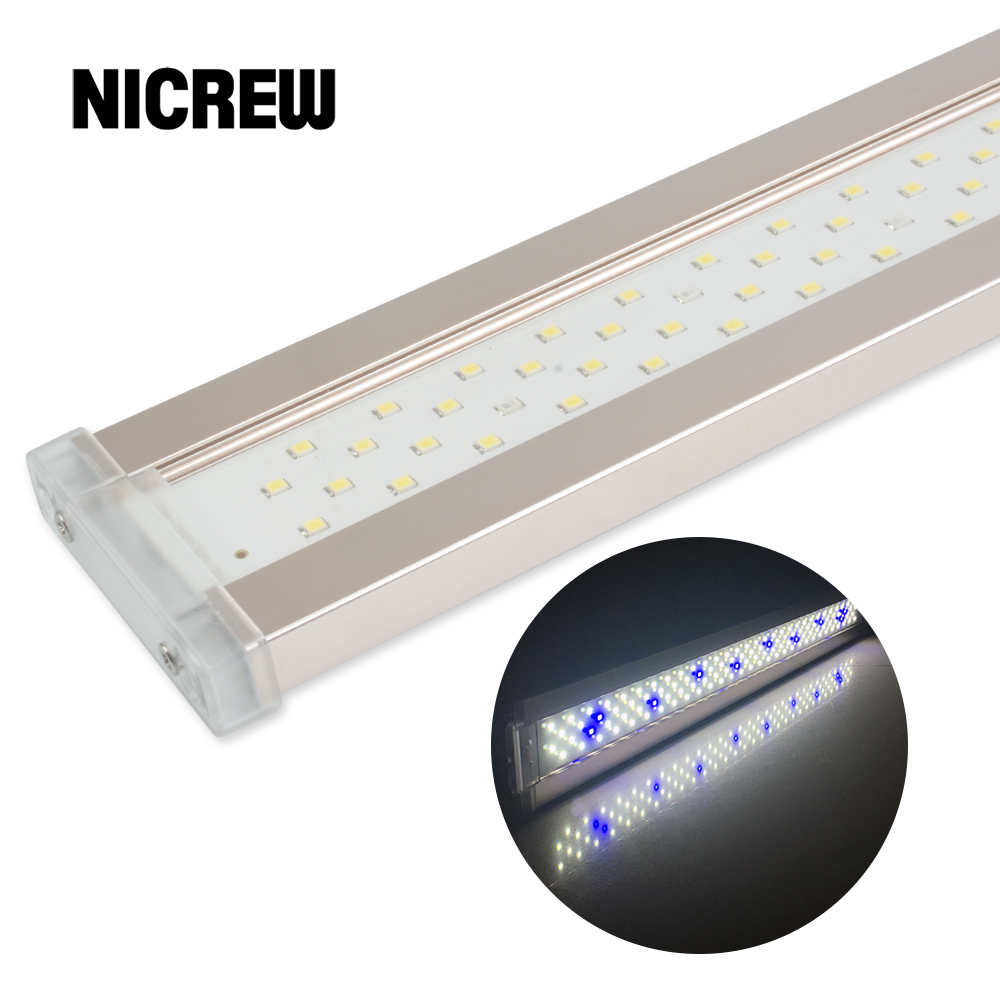 Nicrew ADE Aquarium Plant LED Belysning til Aquarium 12W-24W Ultra-tynd Aluminium Alloy Fish Tank Plant Grow Lighting 6500-7500K