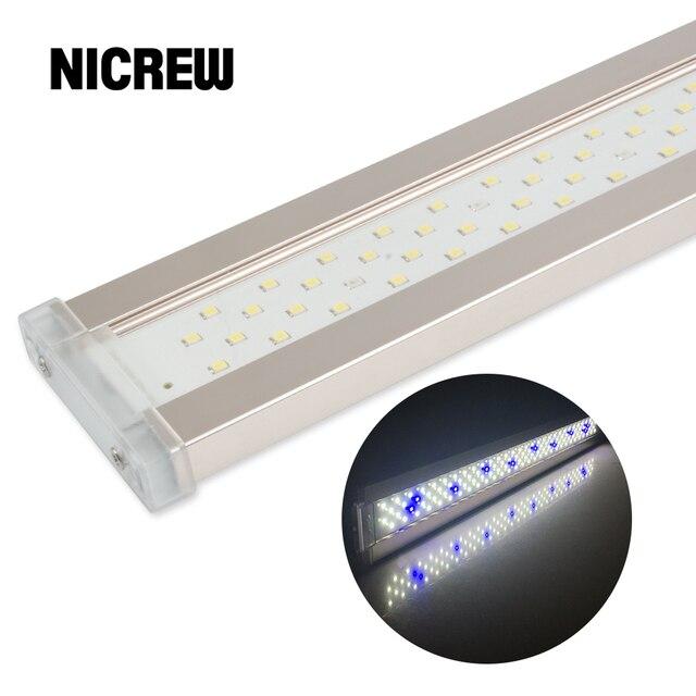 Nicrew Iluminación Led ultradelgada de aleación de aluminio para acuario, iluminación LED de 6500 7500K para acuario, 12W 24W
