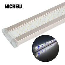 Nicrew אקווריום Led תאורה לאקווריום צמח 12W 24W Ultra דק אלומיניום סגסוגת דגי טנק צמח לגדול LED תאורה 6500 7500K