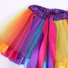 Fashion 0-8Y Girls Kids Baby Xmas Rainbow Tutu Skirt Party Costume Fancy Tutu Pe