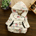 Flower Pattern Rose Cotton Hooded Thick Children's Coat For Girls 2017 New Brand Winter Kids Down Zipper 3 Colors Outerwear