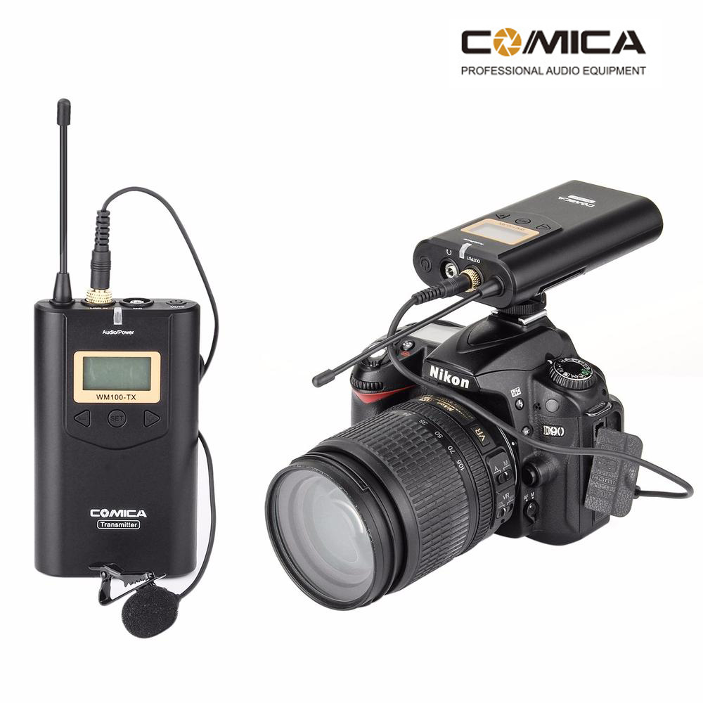 COMICA CVM-WM100 Wireless Lavalier Microphone System for Canon Nikon Sony DSLR Camera A7 GH4 Camcorder iPhone Samsung Smartphone  boya by wm5 lavalier clip on mic audio studio recorder wireless microphone microfone for canon sony gopro dslr camera camcorder