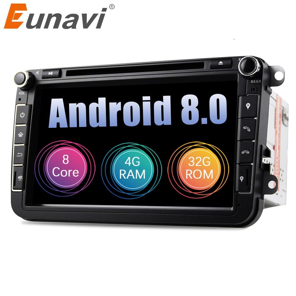 Eunavi Android 8.0 Octa Core 4 gb di RAM DVD Dell'automobile per il VW Passat CC Polo GOLF 5 6 Touran EOS t5 Sharan Jetta Tiguan GPS Radio Sede di UN