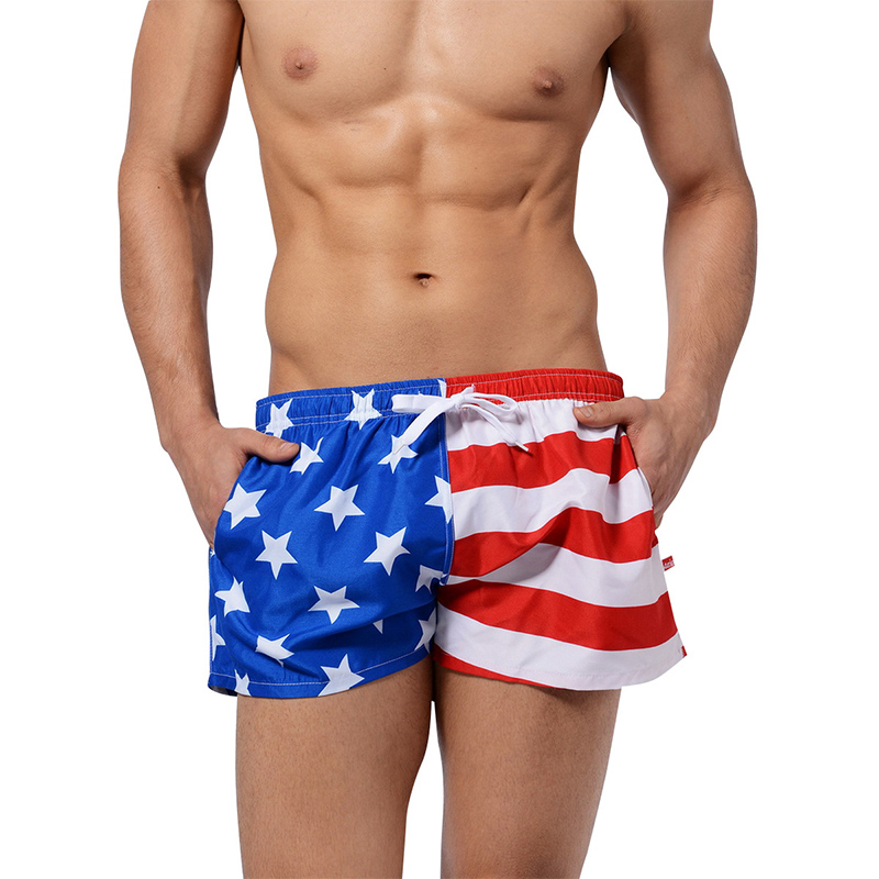 New Quick Dry Men's Swim   Shorts   Swimwear Surfing Beach   Short   Beachwear US Flag Maillot De Bain Sport Surf Men   Board     Shorts