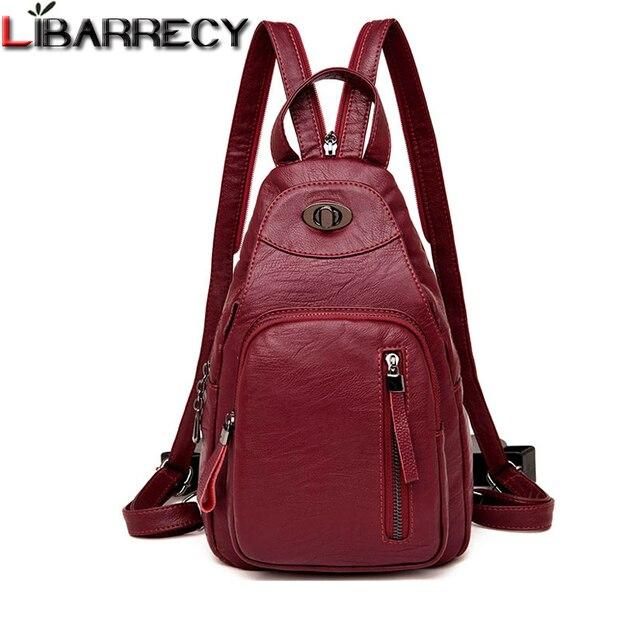 カジュアルバックパック女性ブランドの革の女性のバックパックデザイナーショルダーバッグ女性のための 2018 旅行backbag胸バッグmochila