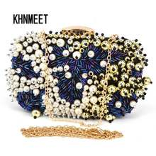 Fashion Mewah Biru Beaded Evening Pearl Clutch Pernikahan Bridal Pesta Tas Wanita Dompet Dompet Perjamuan Soiree Tas Z95(China)