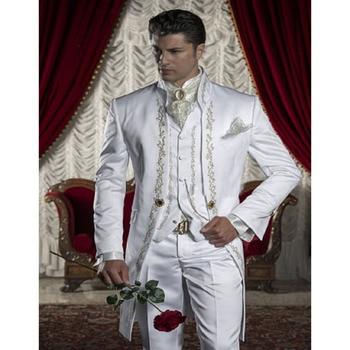 Fashion Embroidery Groomsmen Mandarin Lapel Groom Tuxedos White Men Suit Wedding Prom Best Blazer mens suits (Jacket+Pants+Vest)
