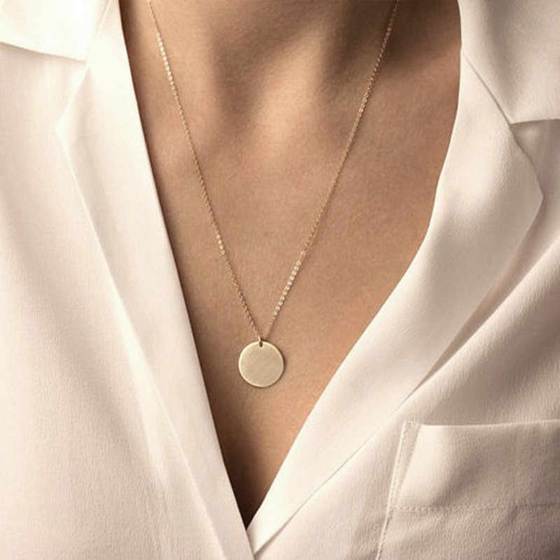 N1081 Minimalis Perhiasan Klavikula Bulat Koin Liontin Kalung Wanita Rantai Collares Fashion Perhiasan OL Bijoux Ras De Cou 2018