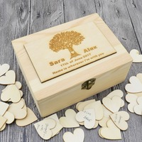 Rustic wedding guestbook, Custom Wooden Rectangle Keepsake box, Personalized Wedding guest book, wedding box with 100 hearts