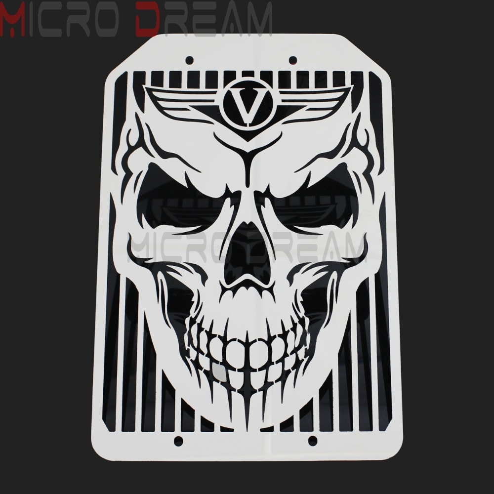 Skull Pattern Motorcycle Water Cooler Cover Protector Mesh Chrome Radiator Grill For Kawasaki <font><b>VN1500</b></font> VN1700 image