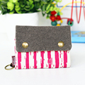 Unisex Men Women Three Layer Folded Manual Canvas Wallet Bag With Multi Card Holder Boy Girl Denim Multifunction Coin Purse P618