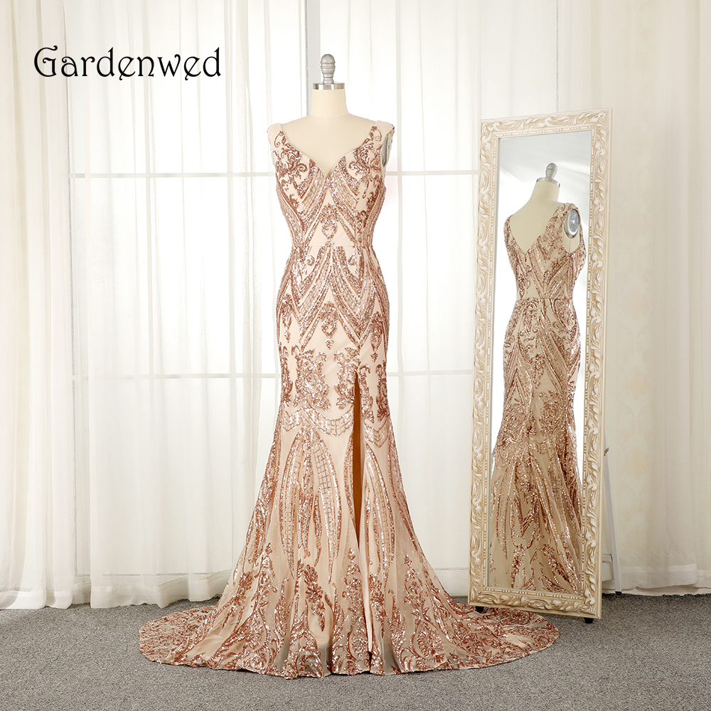 Gardenwed 2019 Champagne Golden Mermaid   Evening     Dress   Sparkly Sequin Side Slit Long Woman Engagement   Dress