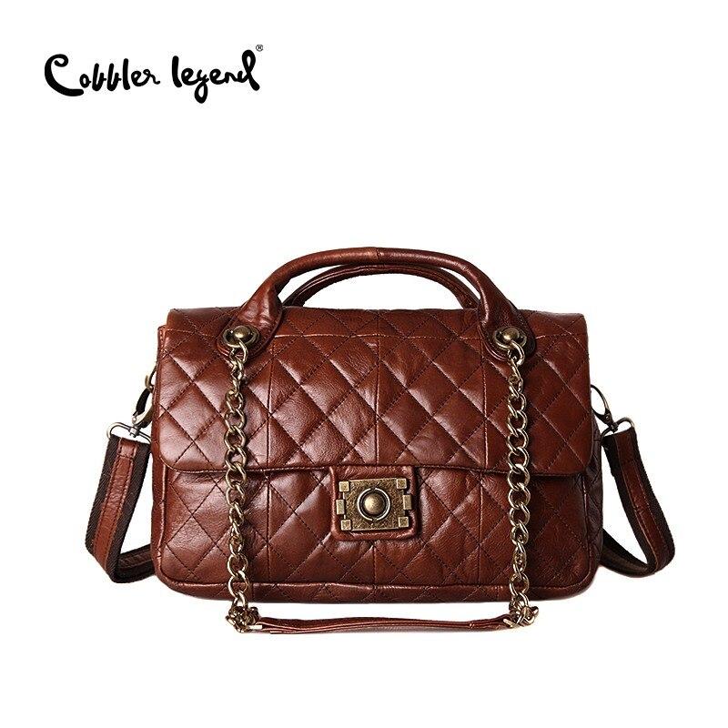 Szewc legenda marki prawdziwej skóry kobiety skrzynki solidna torebka torebka damska Messenger Crossbody torby na ramię torebki w Torby z uchwytem od Bagaże i torby na  Grupa 1