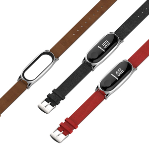 Image 5 - Mi Band 5 Strap For Xiaomi Mi Band 4 Leather Strap Wrist Compatible Strap for Mi Band 3 Accessories Bracelet Miband 5 Strap