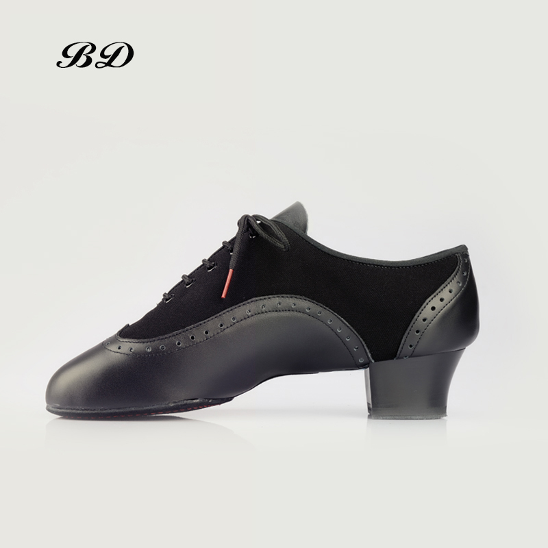 BD 458 ダンスシューズラテンシューズ社交男性靴モダンジャズ職業汗内側ヒール 4.5 センチメートル牛革とオックスフォード布少年  グループ上の スポーツ & エンターテイメント からの ダンスシューズ の中 1