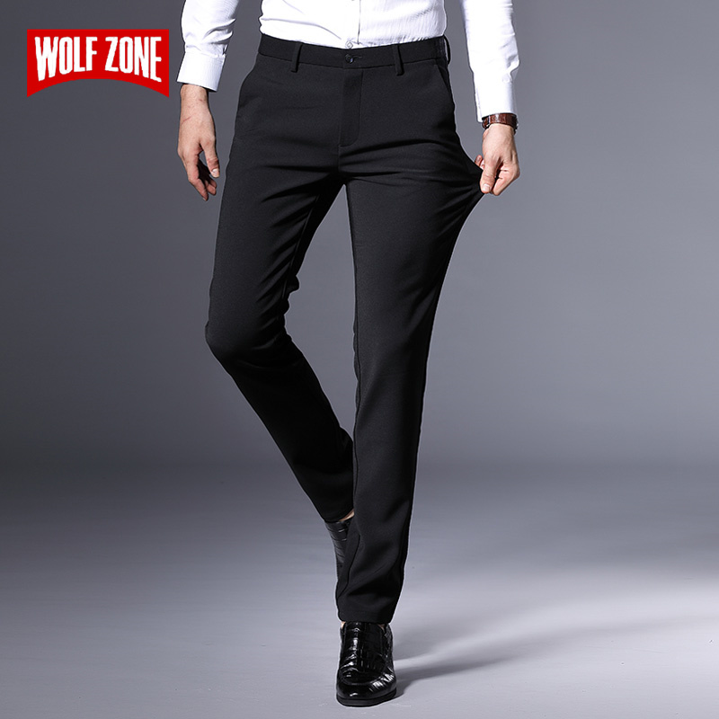 Autumn Winter Black Casual Pants Men Fashion Slim Fit Mens Brand Classic Man Pants New Male Adult Luxury Brand Business Trousers