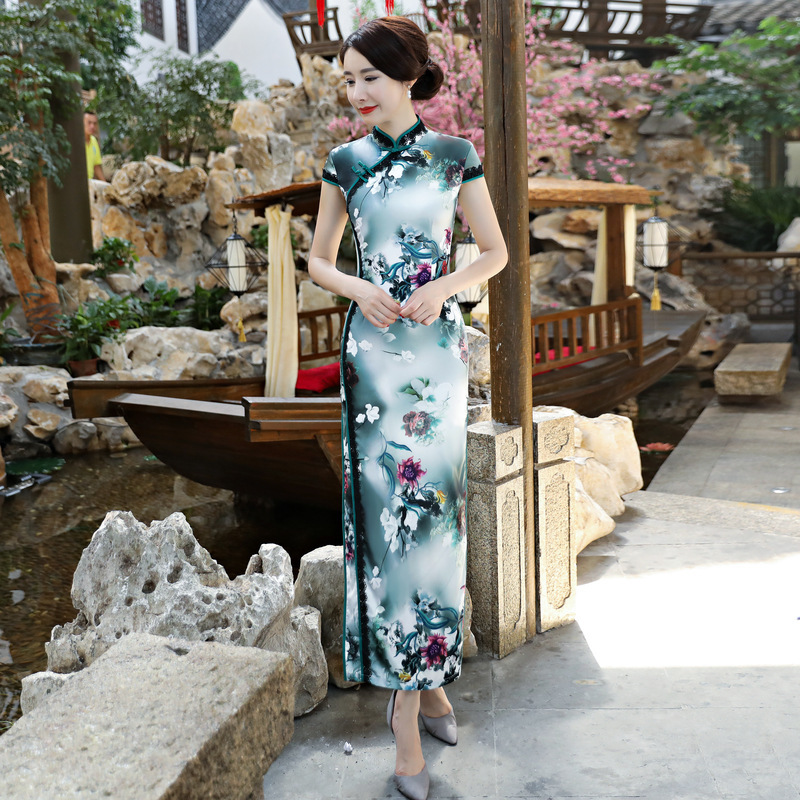 style Femmes Style Robes Qipao Xxxl Rayonne Xl S Long De Arrivée Taille M Robe Xxl Cheongsam Nouvelle 2 1 1z5847 L Mode Chinois 3 Élégante style Sq70dAS