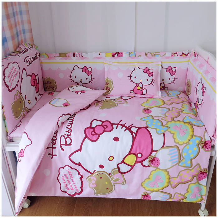 Promotion! 9PCS Cartoon Newborn baby bedding set with baby pillow, bed linen, crib bumpers (bumper+sheet+pillow+duvet)