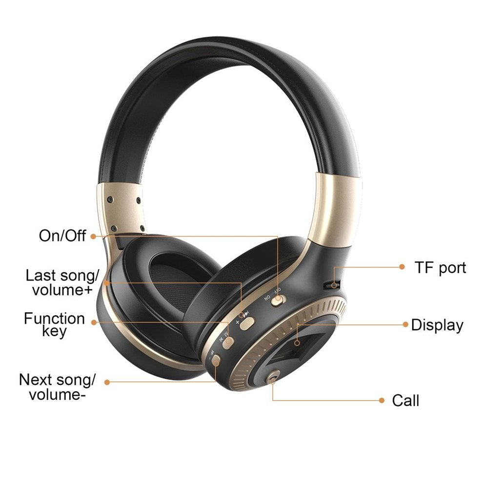 5pcs Bluetooth Headphones B19 LCD Display Wireless Stereo Headsets Headphone With Mic Micro Security Digital Card Slot FM Radio zealot 047 bluetooth hifi headsets stereo fm radio wireless bluetooth headphones high fidelity blutooth headphones