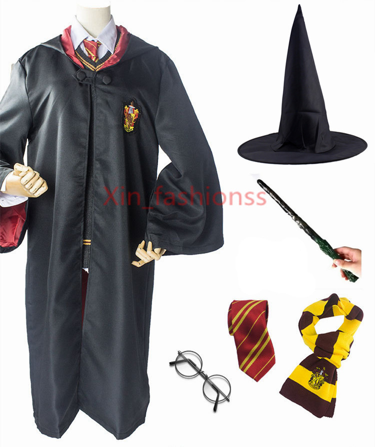 Kids Adult Potter Robe Cloak with Tie Scarf Wand Glasses Ravenclaw Gryffindor Hufflepuff Slytherin for Harris Cosplay Costume