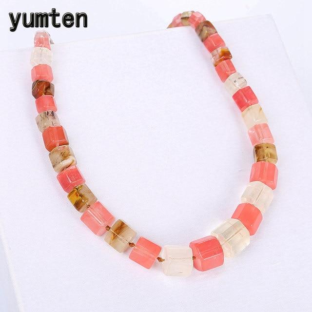 Yumten agat kobiety naszyjnik mężczyźni duży Kolye Boheme reprezentują punkt widzenia kolorowy kamień szlachetny naturalny kryształ Reiki leczenie uzdrowienie biżuteria sprzedaż hurtowa