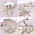 Elegante Strass Cristal Cat/Pavão/Arco/Aquarius e Design Floral Broches Broches Pinos em variados