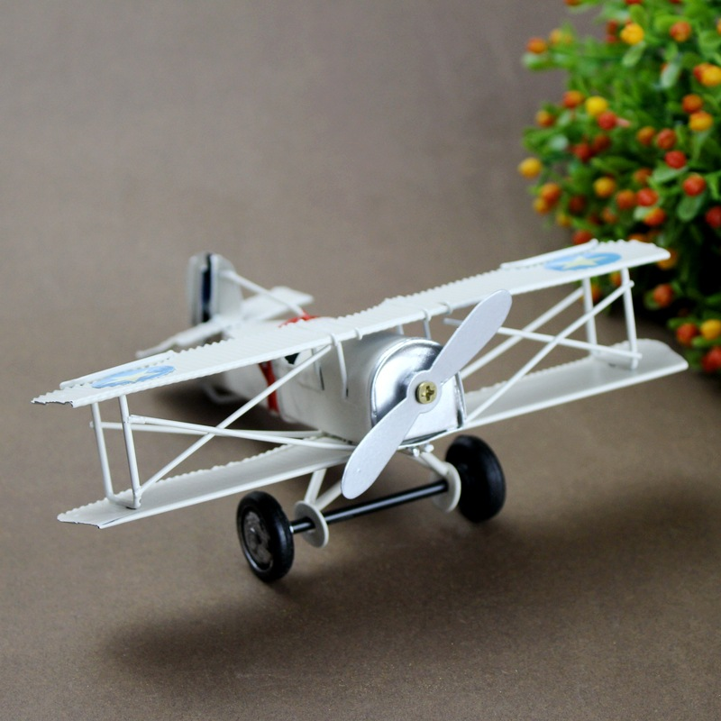 Decor Retro Fighter Figurines Make Old Metal Airplane Model Statue Classic Fighter Crafts Cafe Bar Decor Antique Biplane image