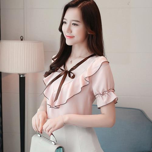 Verano White Loto 2018 Pink Nuevo La Gd3f Manga gd3f Moda Super 306a 6191 Corta Oficina Borde Señora Arco Redondo Blusa Camisa gd3f De Gasa gd3f Hoja Collar 6191yellow Green Cuerno Elegante 7wYfYqx5