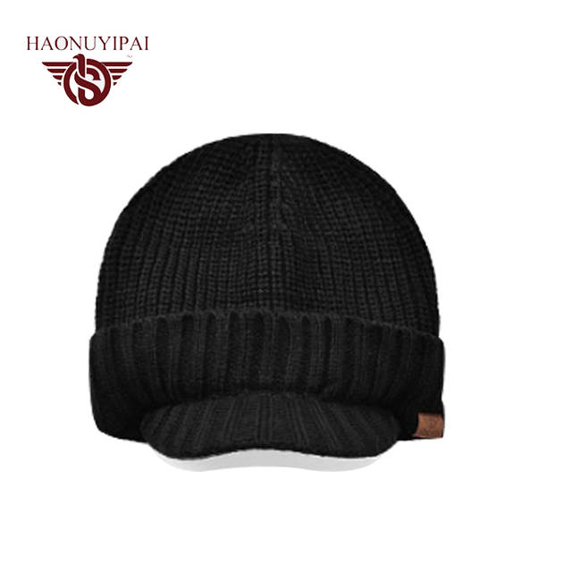 907fc007 2017 Men Winter Warm Hat Braided Knitted Ski Hats Beanie Caps Casual Male Ear  Windproof Brim Visor Beanies Cap Top Quality A046-in Skullies & Beanies  from ...