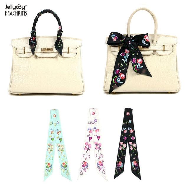 Jellyooy Beachkins New Luxury 100 Silk Twill Scarves Handbags Handle Wrap Decoration Camellia Fl T