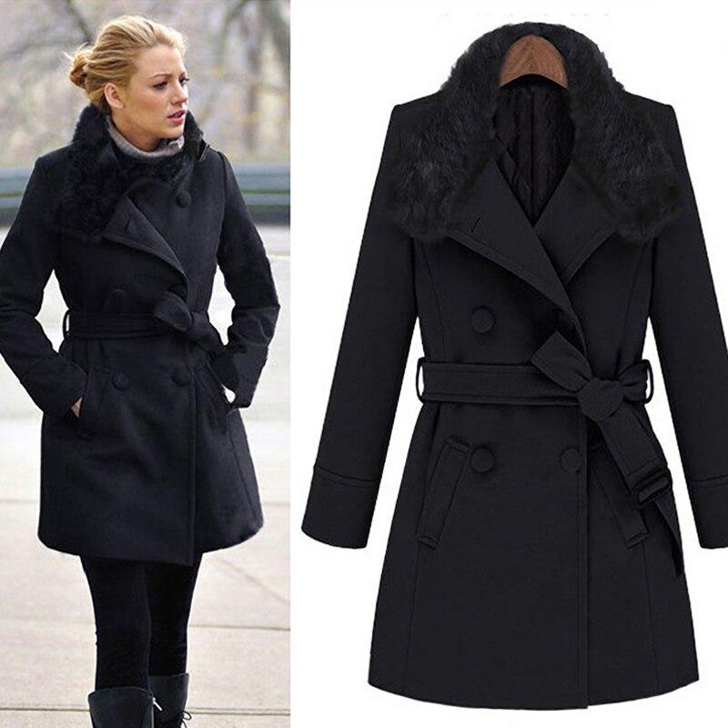 Vintage womens winter jackets Long wool coats Fur Hooded European Style-in Wool & Blends from