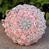 JaneVini 2018 Luxury Wedding Diamond Rose Bouquet Crystal Rhinestone Satin Flowers Bridal Bouquets Lace Handle Ramos Novia