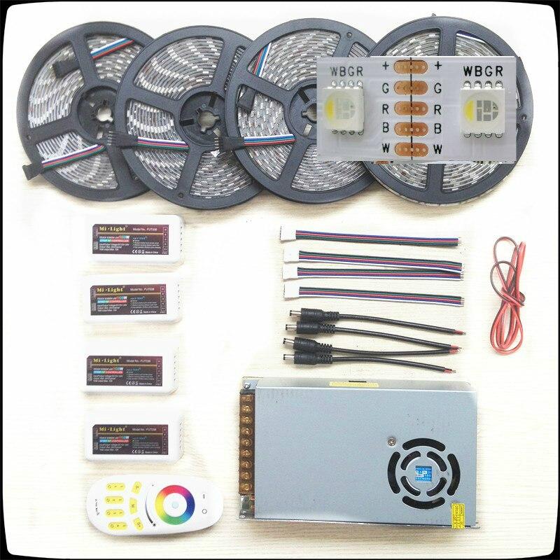 Bande Led RGB/W 5050 étanche IP20/IP65 DC12V 4 couleurs en 1 puce lumière Led + télécommande + Kit d'alimentation en alimentation Led 5-20 m