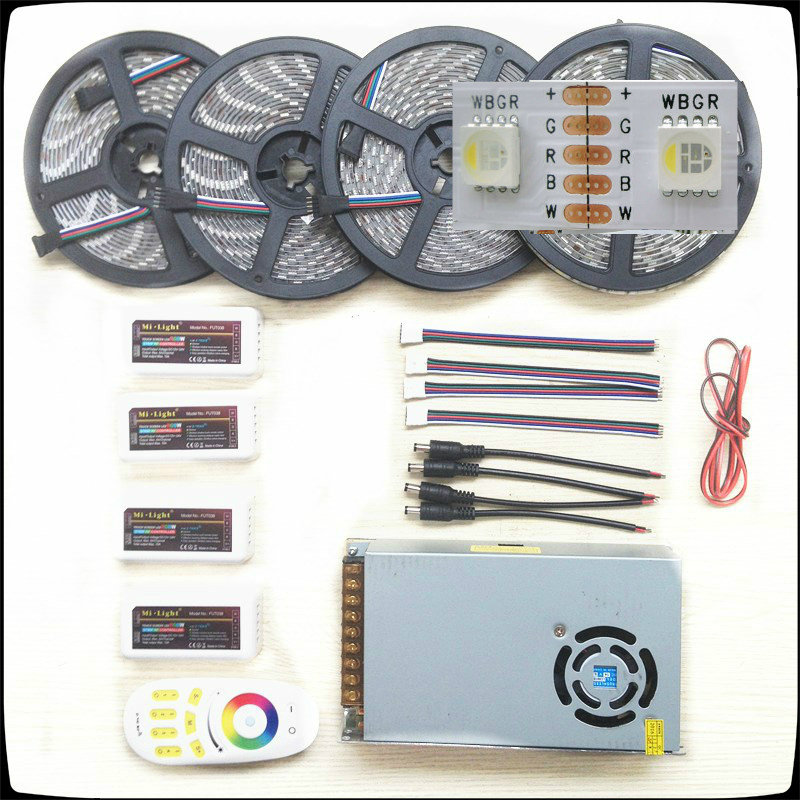 RGB/W Led Strip 5050 Waterproof IP20/IP65 DC12V 4 colors in 1 Chip Led Light+Remote Controller+Led Power Supply Kit 5-20m good group diy kit led display include p8 smd3in1 30pcs led modules 1 pcs rgb led controller 4 pcs led power supply