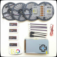 RGB/W Led Strip 5050 Waterproof IP20/IP65 DC12V 4 colors in 1 Chip Led Light+Remote Controller+Led Power Supply Kit 5 20m