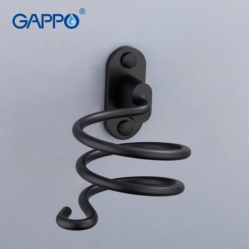 Bad Hardware Heimwerker Gappo Bad Hardware Sets Raum Aluminium Wand Montiert Fön Halter Rack Schwarz Halter Lagerung Rack Bad Zubehör