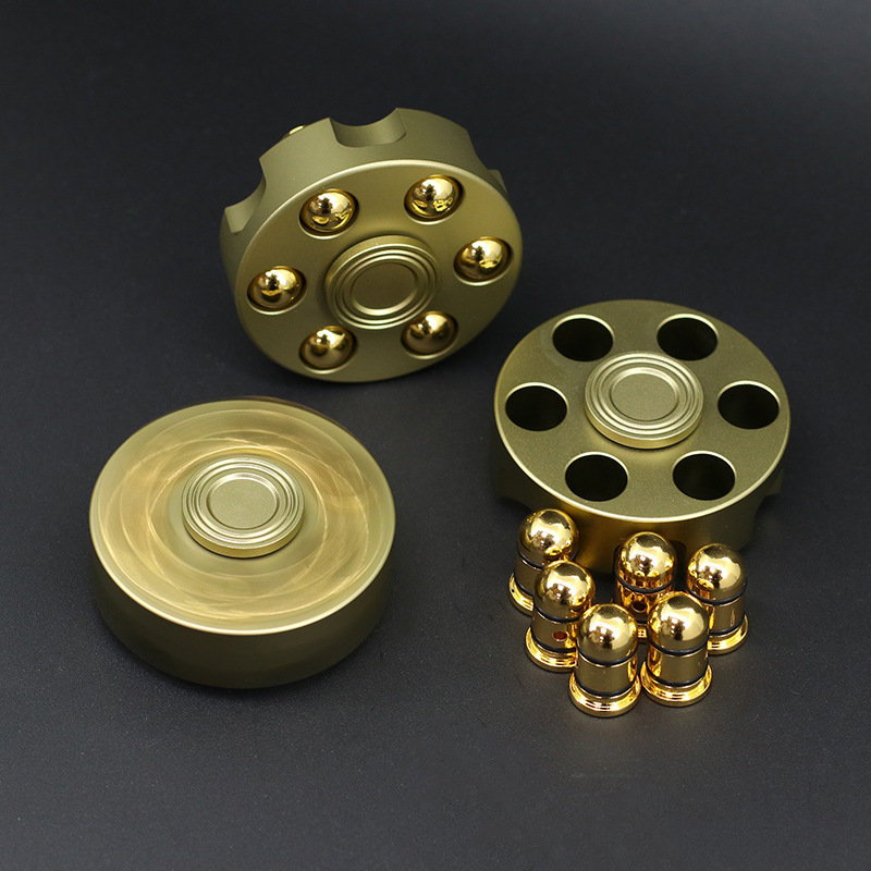 Espeon Unique Brass Gun Revolver Bullet Fidget Spinner Copper Hand Spinners Metal Stress Figet Spiner Lasting Finger Spinner DIY