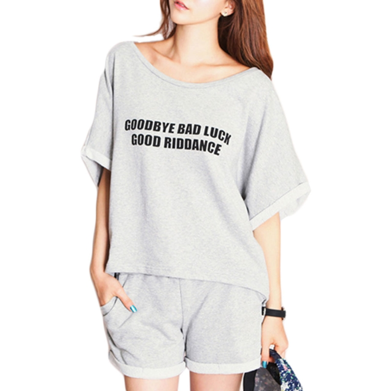 Fashion New Women   Pajama     Set   Letter Print Round Neck Top Elastic Shorts Sleepwear Home Nightwear Soft Summer Hot High Quality